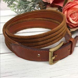 Vintage Suede Ribbed Brown Gold Tone Buckle Belt